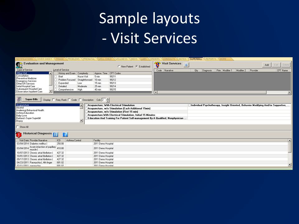 Sample layouts - Visit Services