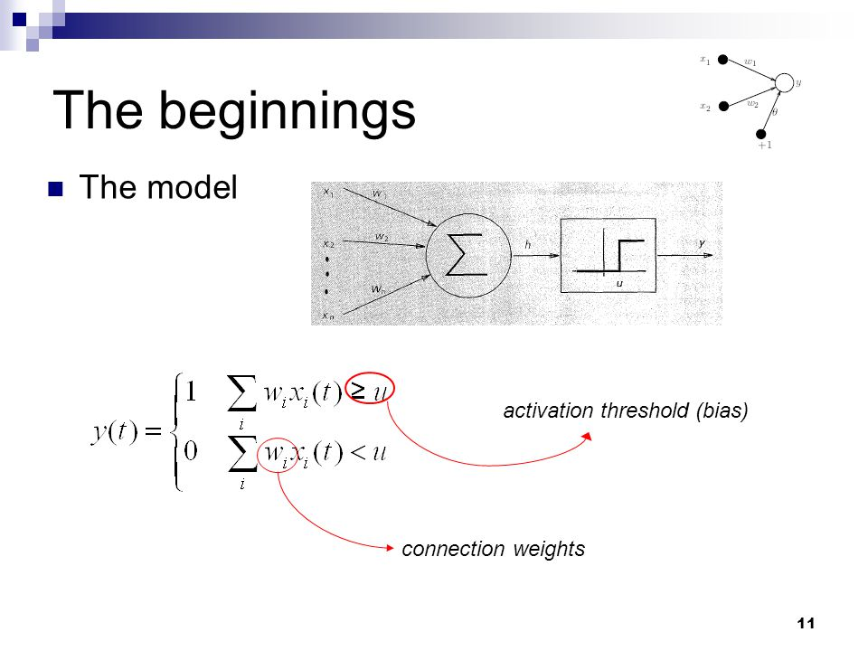 The beginnings The model activation threshold (bias)
