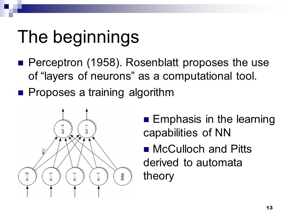 The beginnings Perceptron (1958). Rosenblatt proposes the use of layers of neurons as a computational tool.