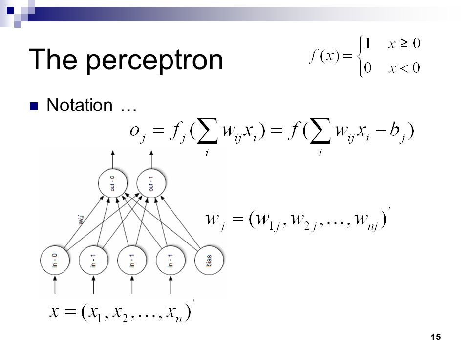 The perceptron Notation …