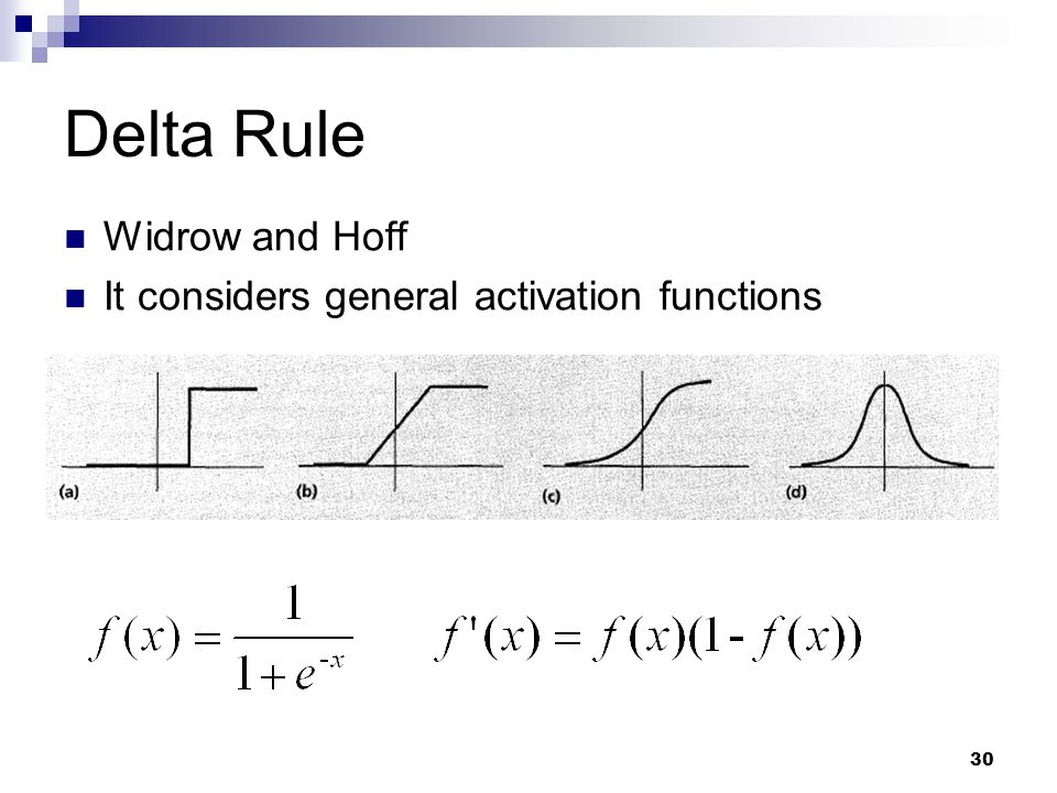 Delta Rule Widrow and Hoff It considers general activation functions