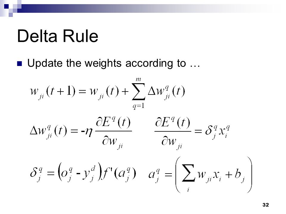 Delta Rule Update the weights according to …