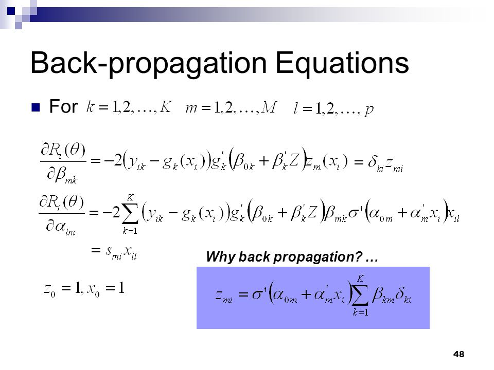 Back-propagation Equations