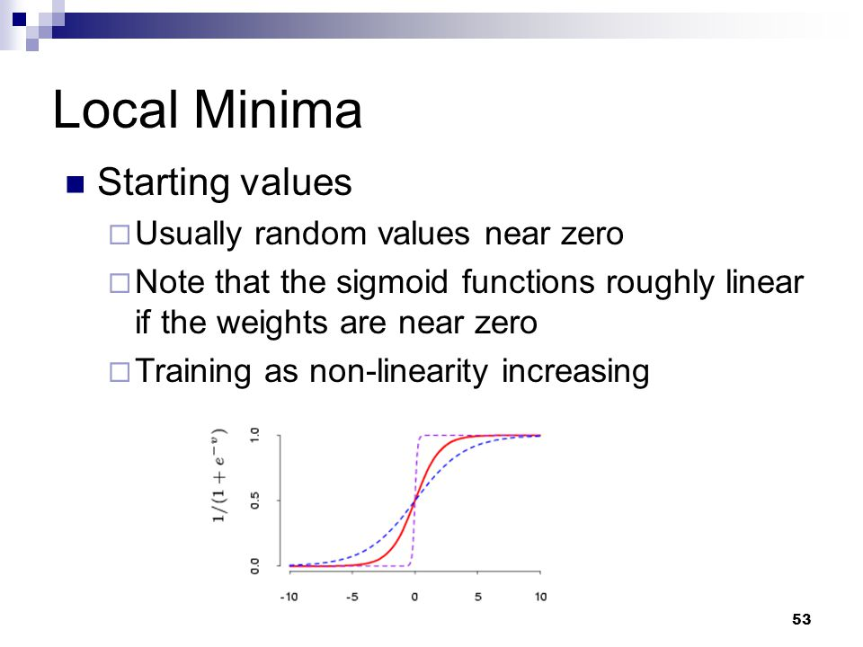 Local Minima Starting values Usually random values near zero