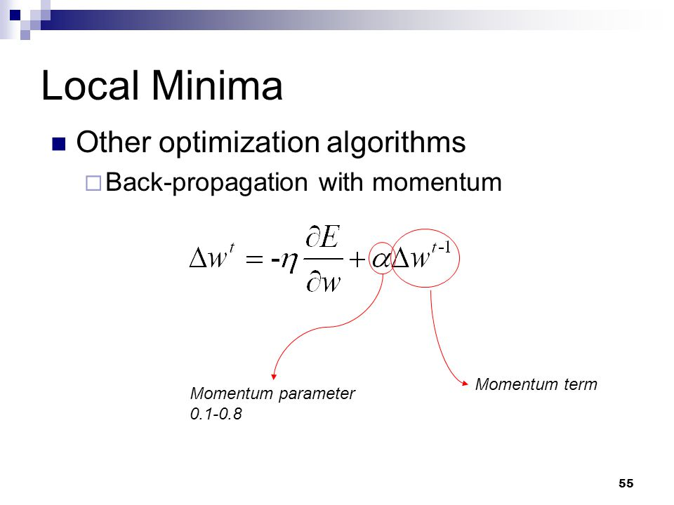 Local Minima Other optimization algorithms