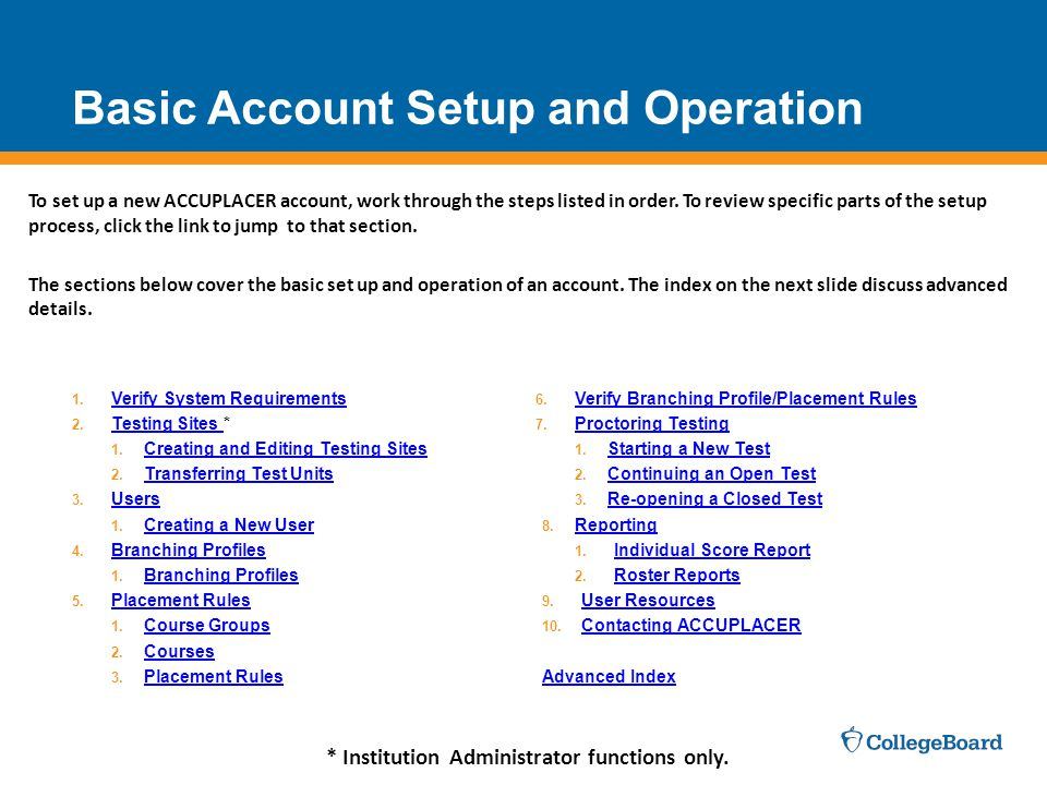 Basic Account Setup and Operation