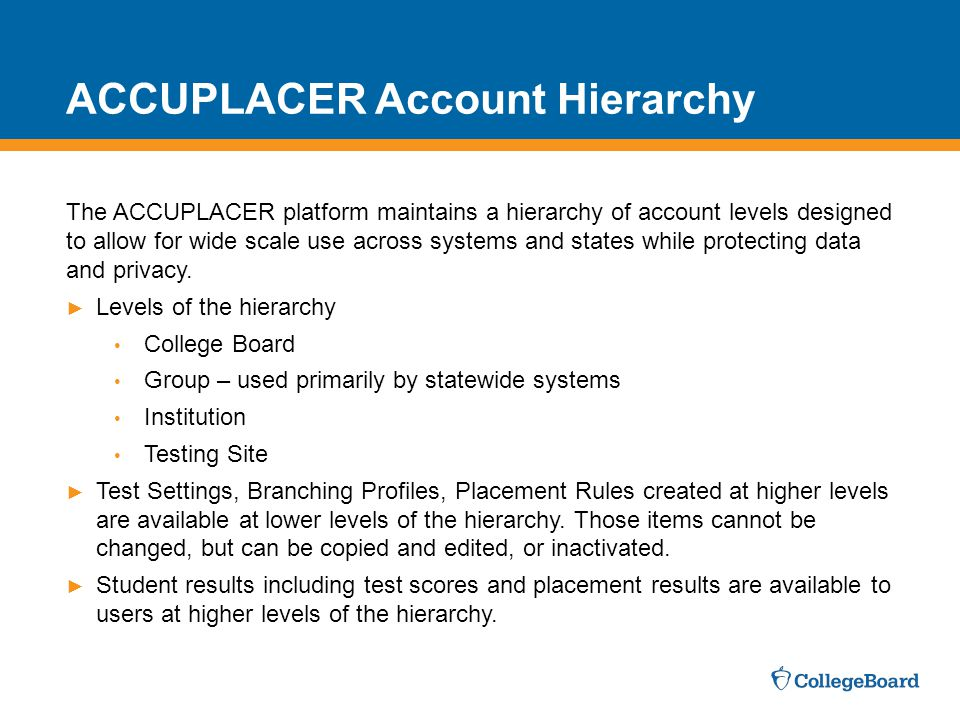 ACCUPLACER Account Hierarchy
