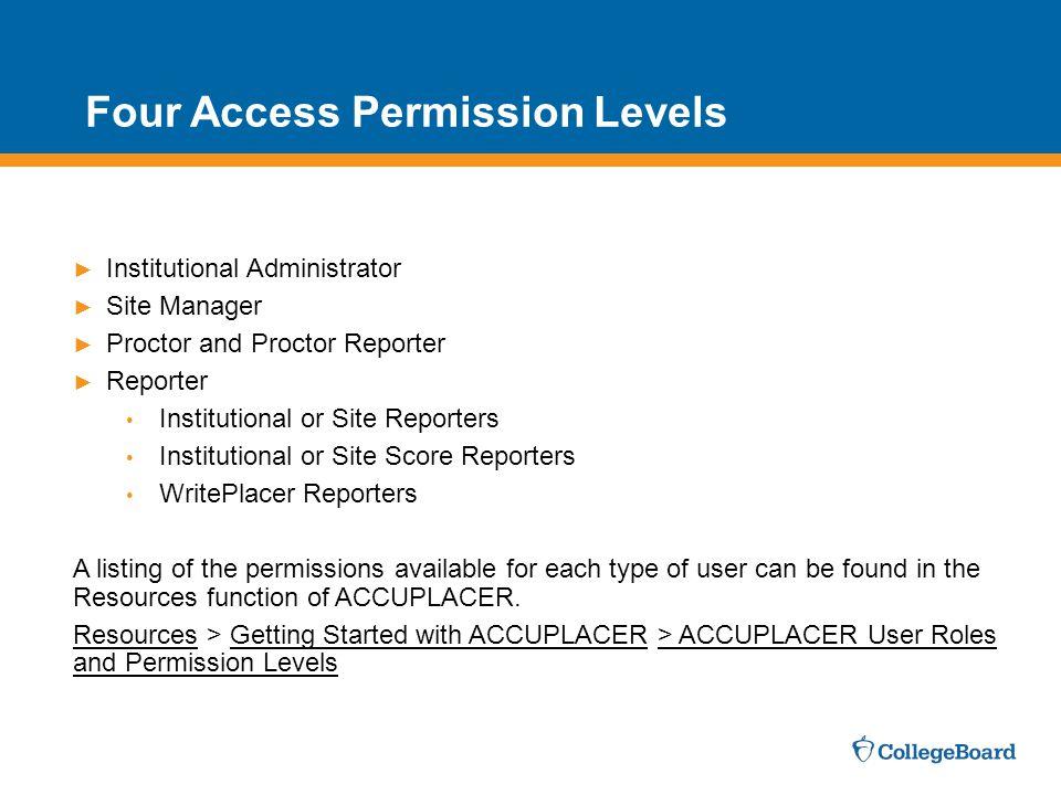 Four Access Permission Levels