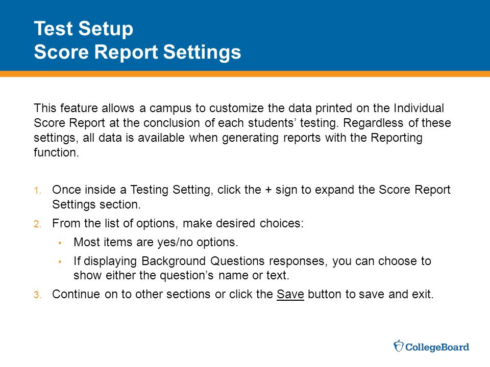Test Setup Score Report Settings
