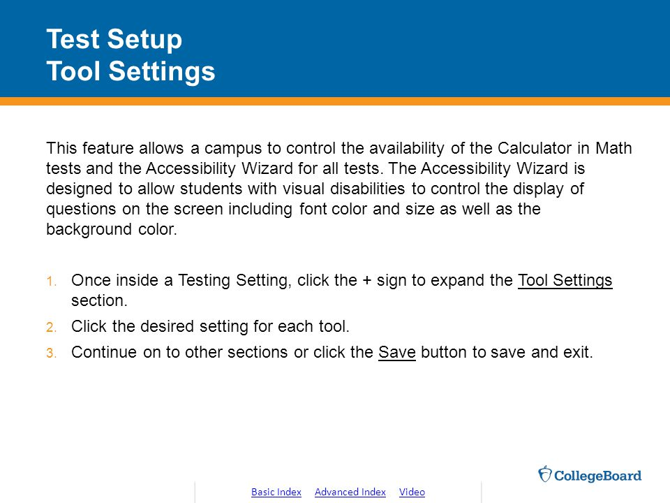Test Setup Tool Settings