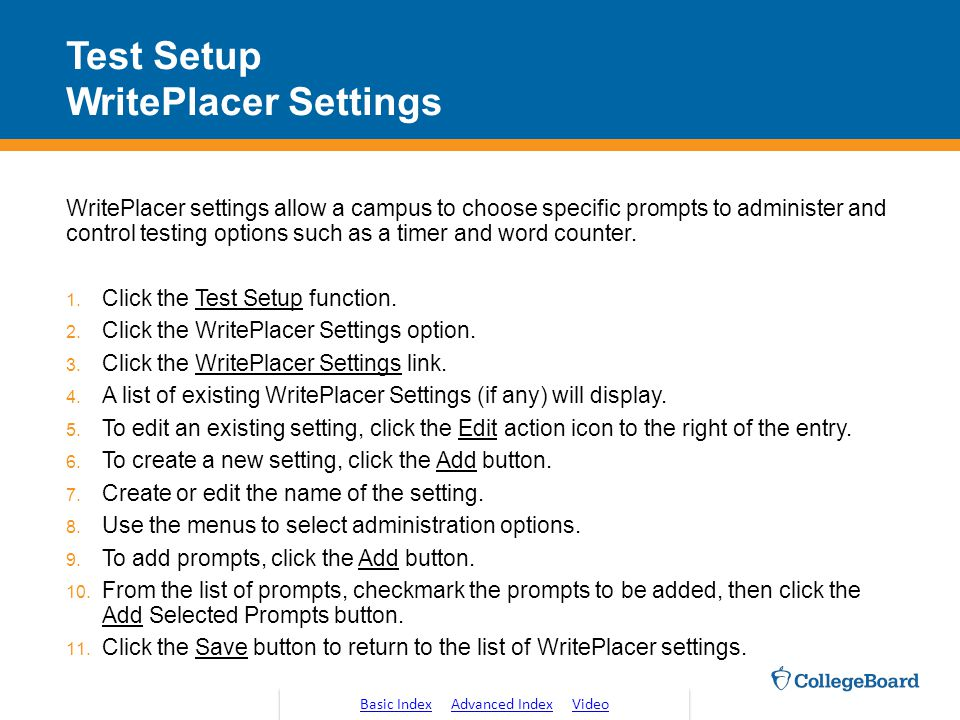 Test Setup WritePlacer Settings