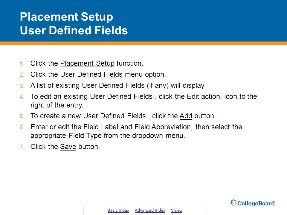 Placement Setup User Defined Fields