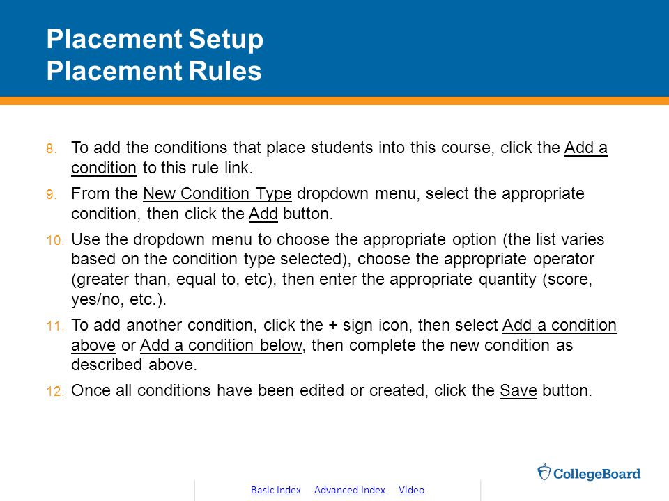 Placement Setup Placement Rules