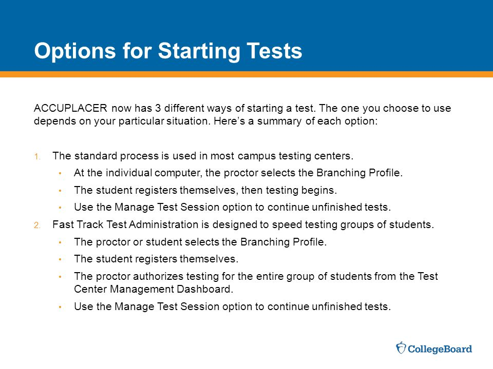 Options for Starting Tests