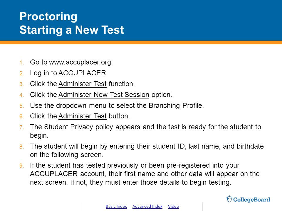Proctoring Starting a New Test
