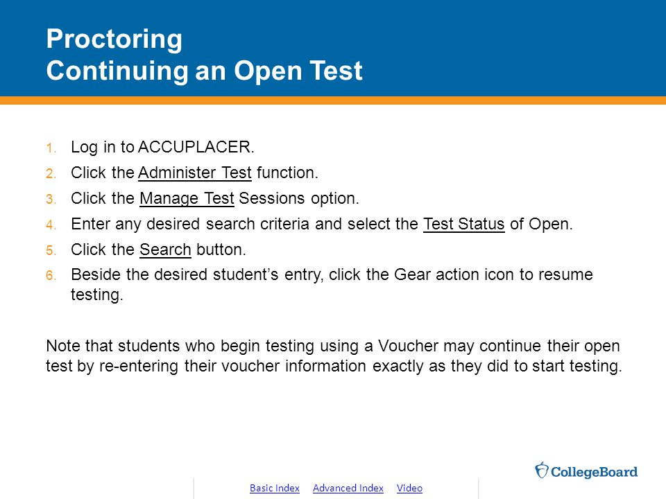 Proctoring Continuing an Open Test
