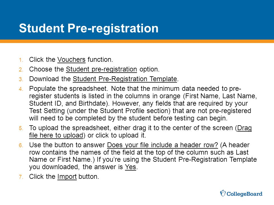 Student Pre-registration