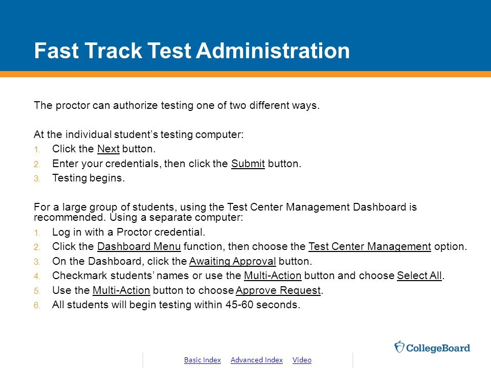 Fast Track Test Administration