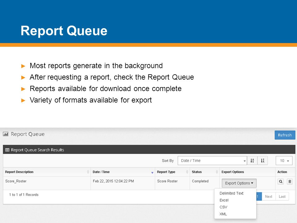 Report Queue Most reports generate in the background