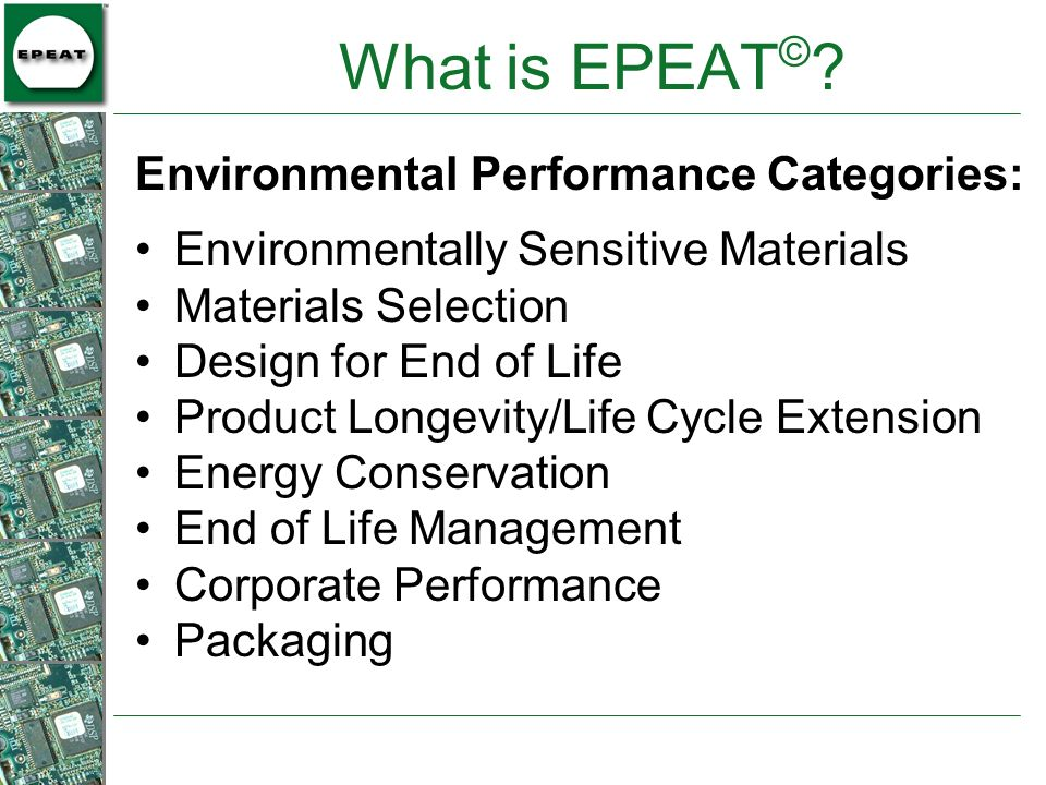 What is EPEAT© Environmental Performance Categories: