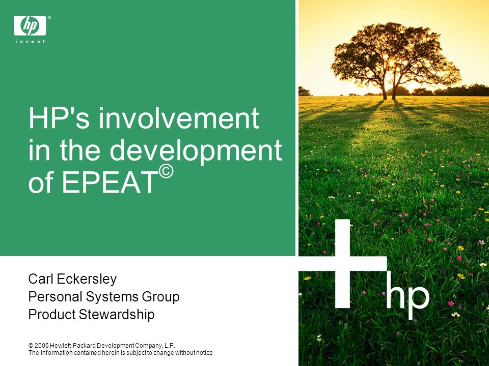 HP s involvement in the development of EPEAT©