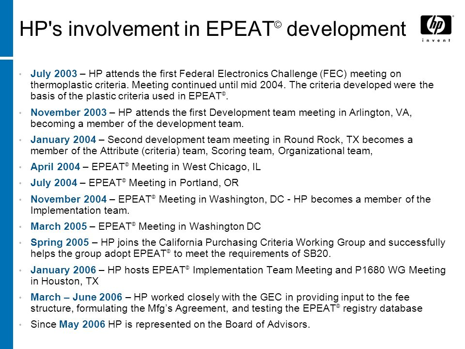 HP s involvement in EPEAT© development