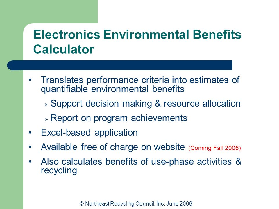 Electronics Environmental Benefits Calculator