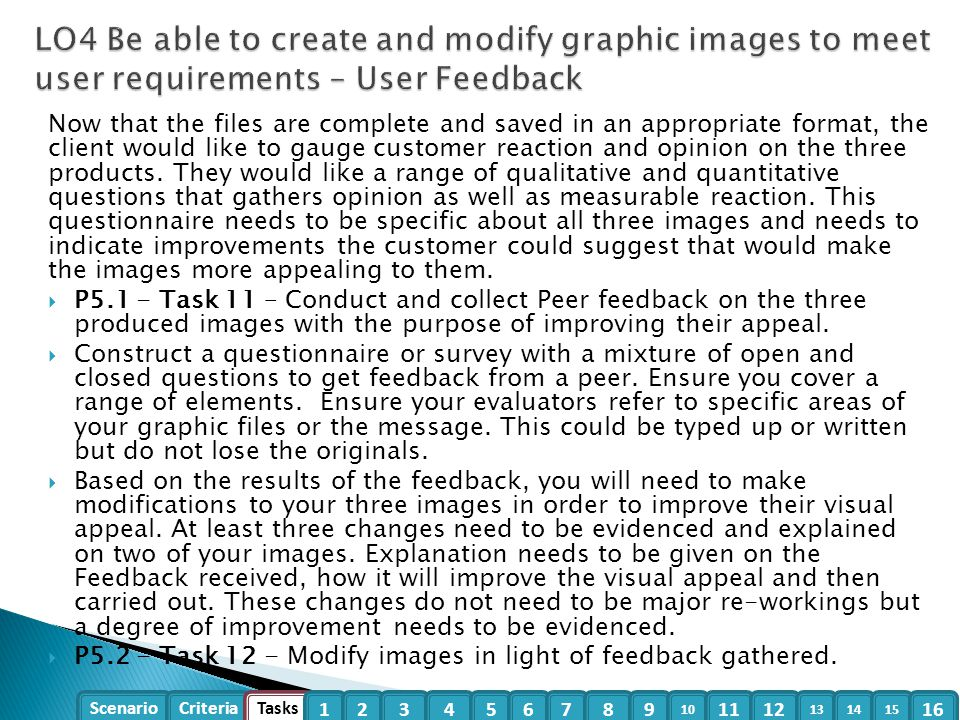 LO4 Be able to create and modify graphic images to meet user requirements – User Feedback