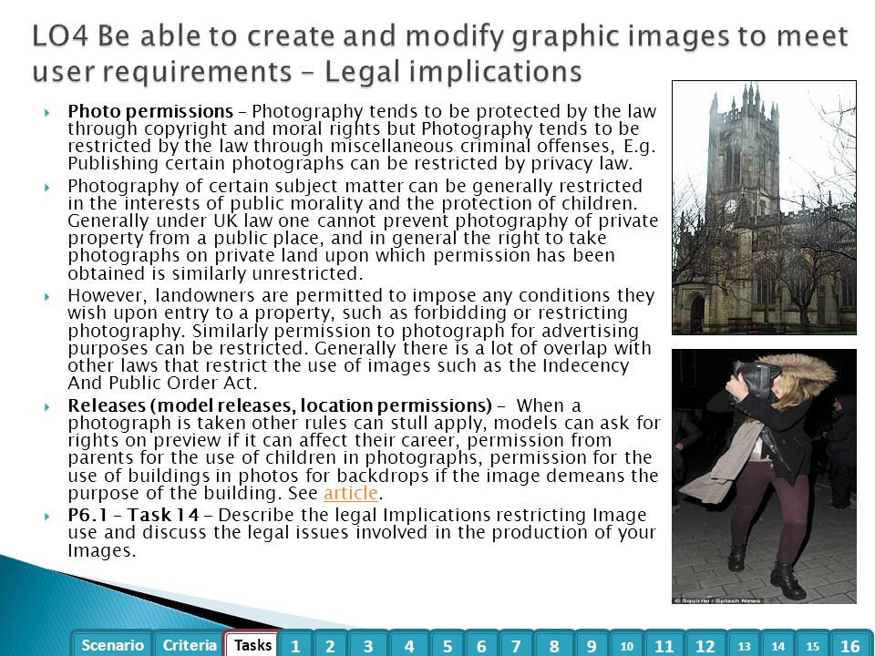 LO4 Be able to create and modify graphic images to meet user requirements – Legal implications
