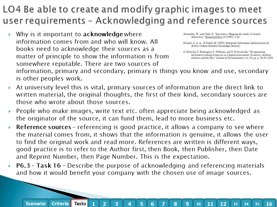 LO4 Be able to create and modify graphic images to meet user requirements – Acknowledging and reference sources