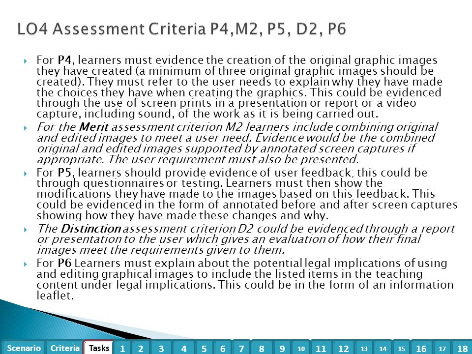 LO4 Assessment Criteria P4,M2, P5, D2, P6