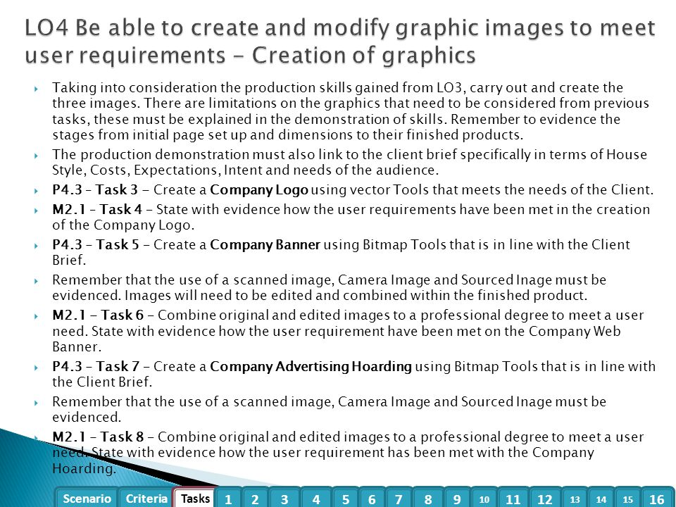 LO4 Be able to create and modify graphic images to meet user requirements - Creation of graphics