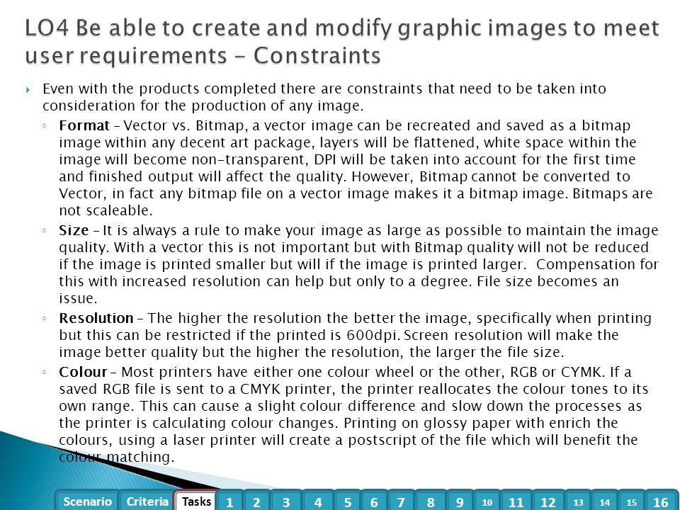 LO4 Be able to create and modify graphic images to meet user requirements - Constraints