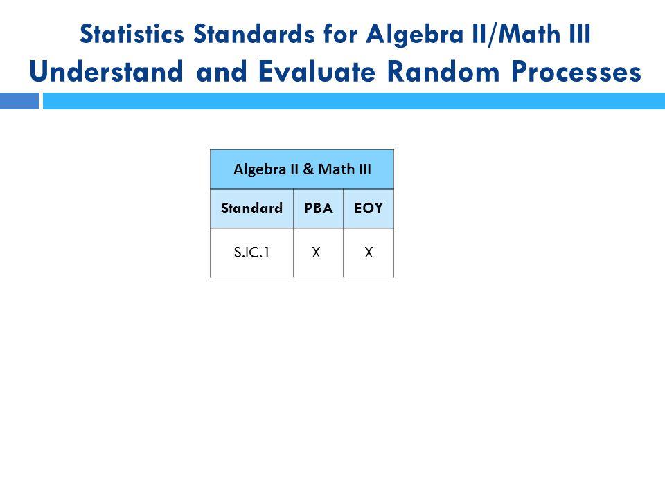 Statistics Standards for Algebra II/Math III Understand and Evaluate Random Processes