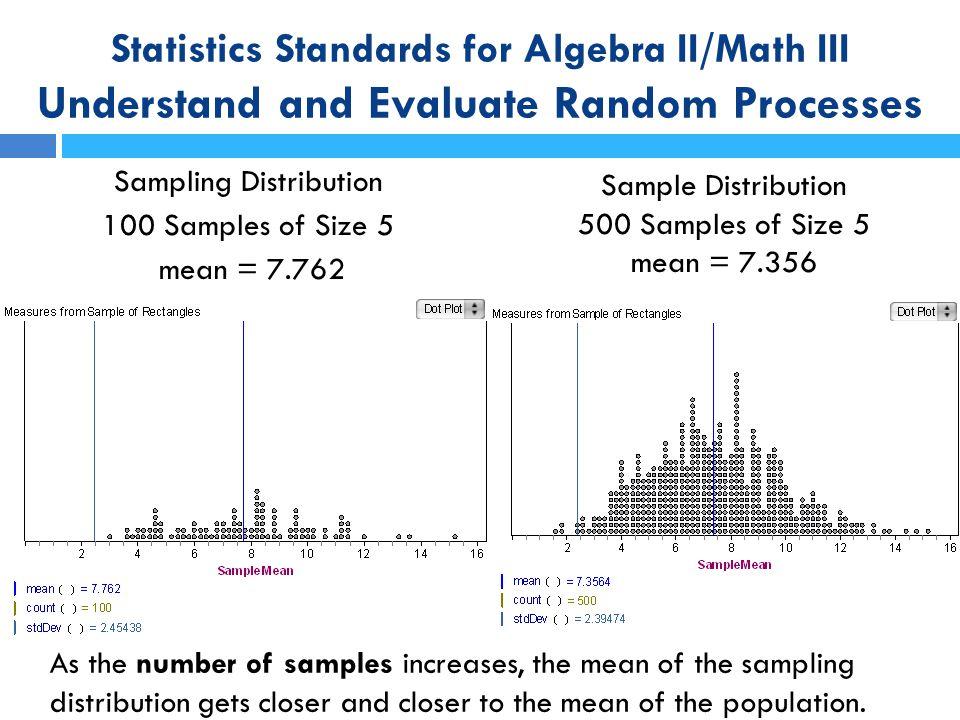Sampling Distribution 100 Samples of Size 5 mean = 7.762