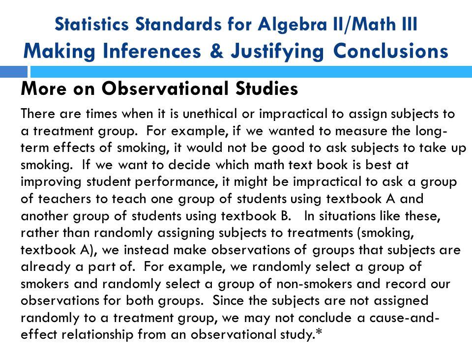More on Observational Studies