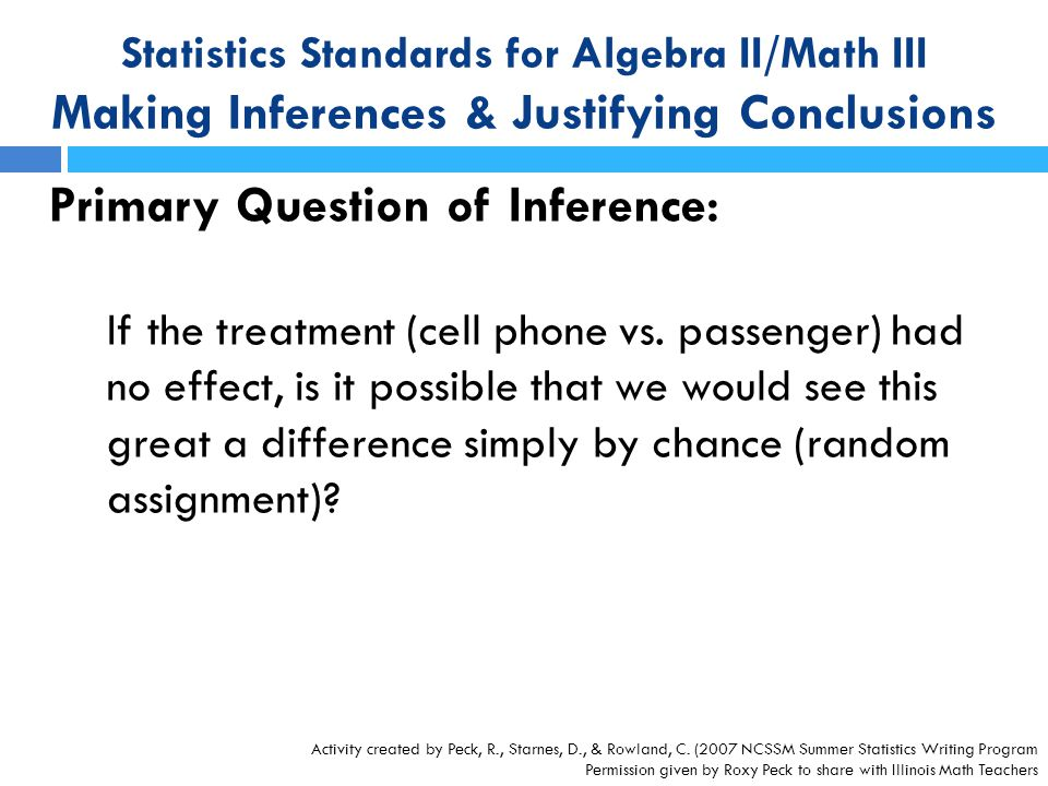 Primary Question of Inference: