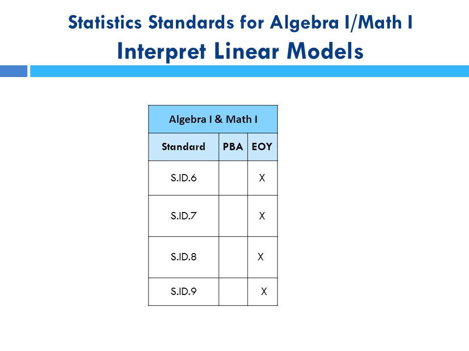 Statistics Standards for Algebra I/Math I Interpret Linear Models
