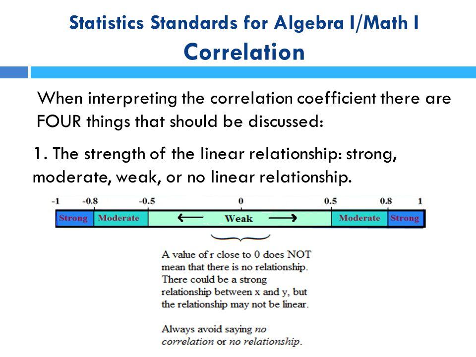 Statistics Standards for Algebra I/Math I Correlation