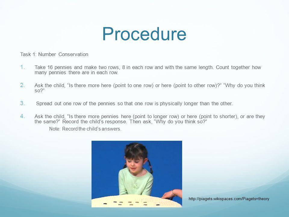 Procedure Task 1: Number Conservation