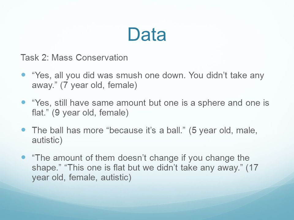 Data Task 2: Mass Conservation