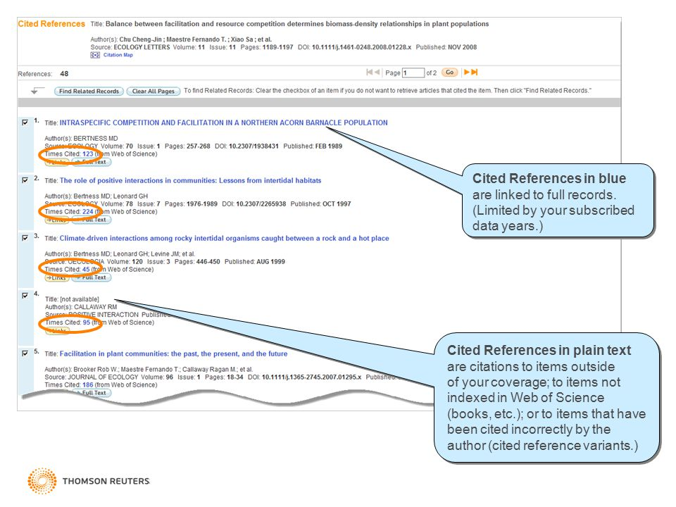 Cited References in blue are linked to full records