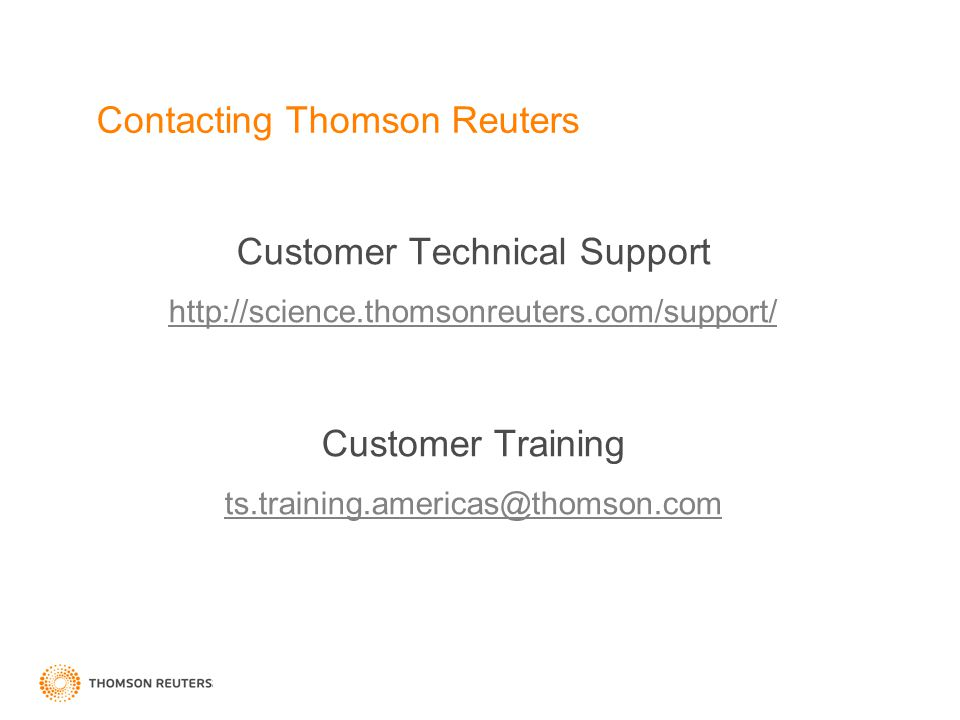 Contacting Thomson Reuters