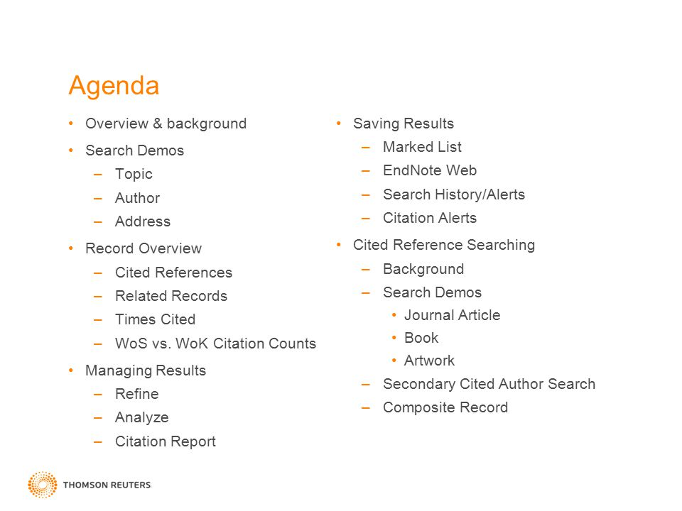 Agenda Overview & background Saving Results Search Demos Marked List