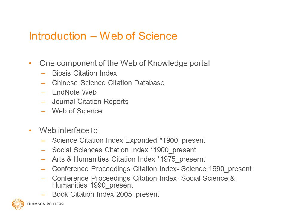 Introduction – Web of Science
