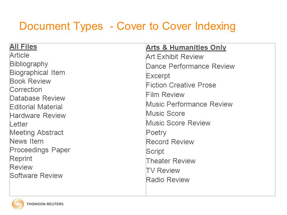 Document Types - Cover to Cover Indexing