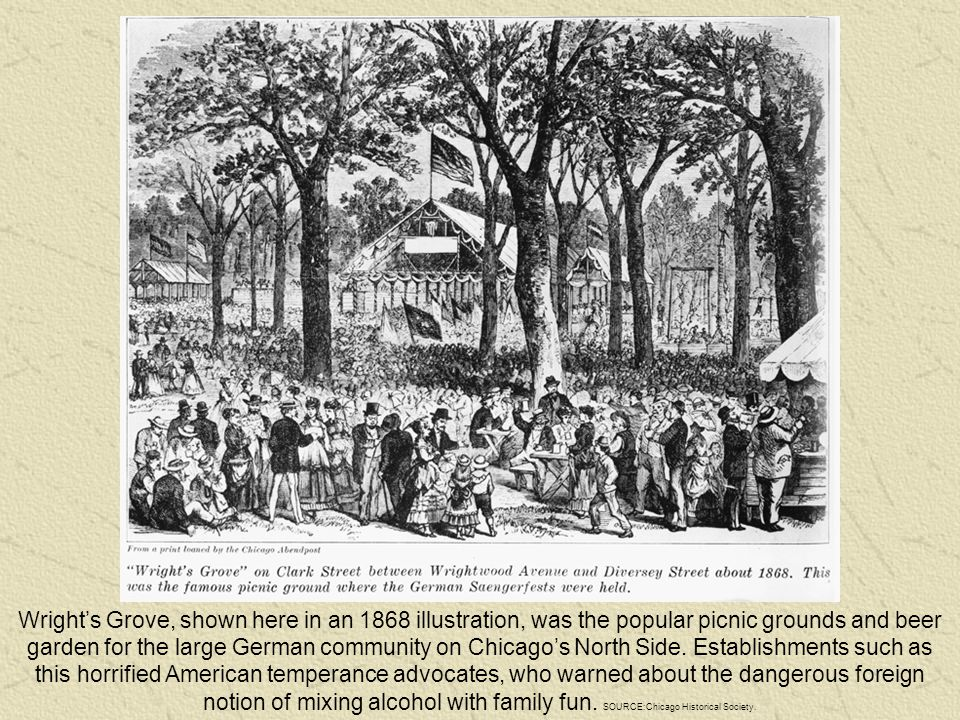 Wright's Grove, shown here in an 1868 illustration, was the popular picnic grounds and beer garden for the large German community on Chicago's North Side.