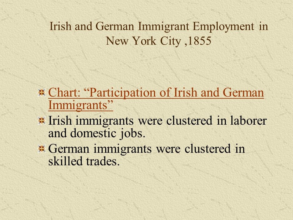 Irish and German Immigrant Employment in New York City ,1855