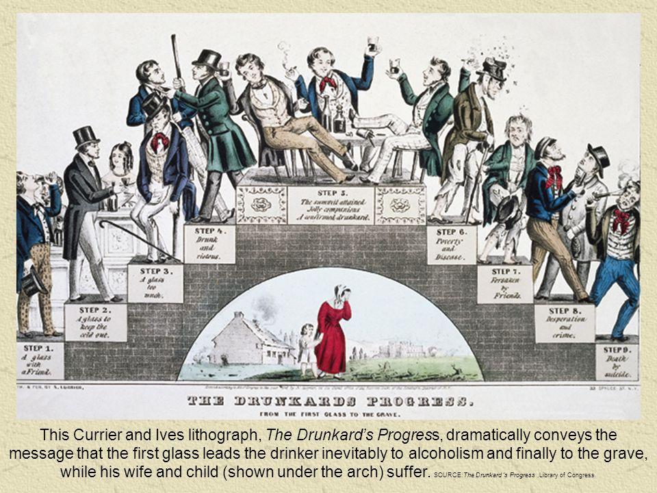 This Currier and Ives lithograph, The Drunkard's Progress, dramatically conveys the message that the first glass leads the drinker inevitably to alcoholism and finally to the grave, while his wife and child (shown under the arch) suffer.