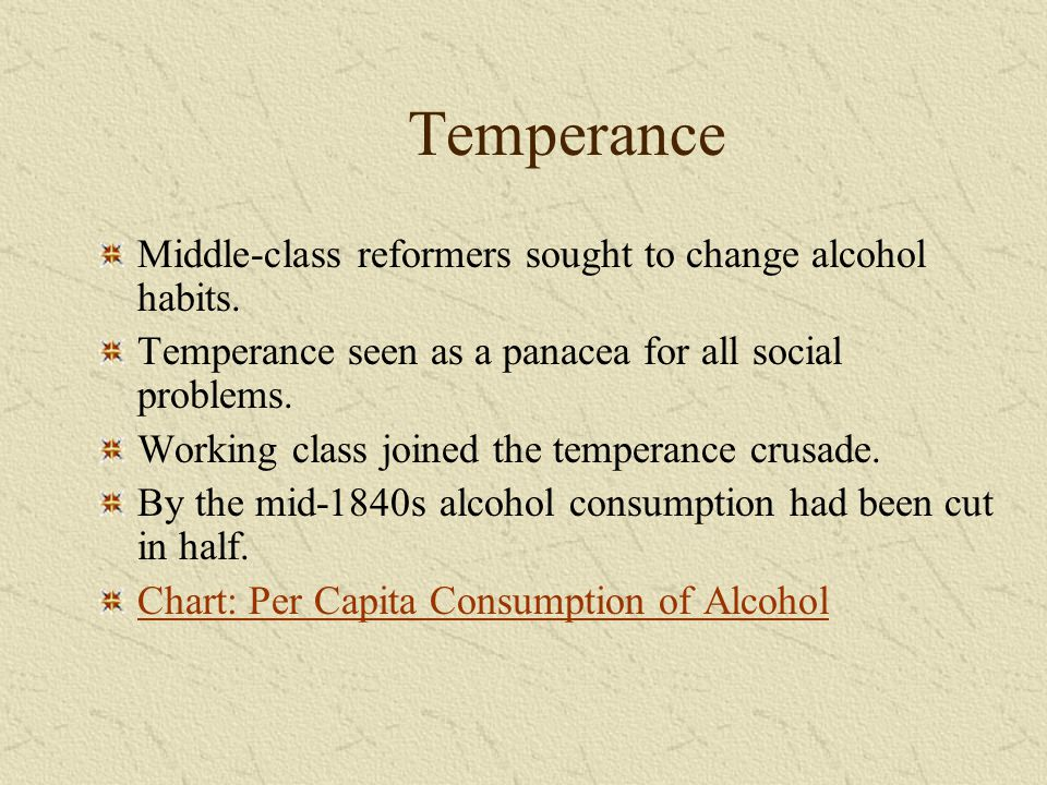 Temperance Middle-class reformers sought to change alcohol habits.